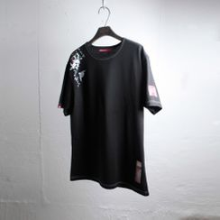 Green Banana - Carp-Printed T-Shirt (Black)