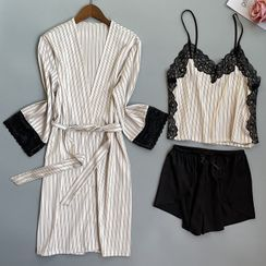 heartlyre - 條紋絲質家居服套裝