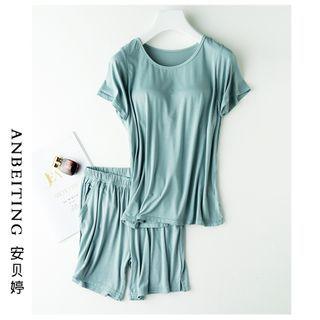 Anbeitin - 家居服套裝: 純色短袖T裇 + 運動褲
