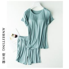 Anbeitin - 家居服套装: 纯色短袖T裇 + 运动裤