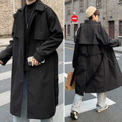 Naideth - Plain Double-Breasted Trench Coat