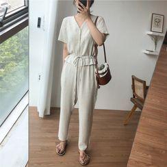 Finlo - Short-Sleeve Harem Linen Jumpsuit