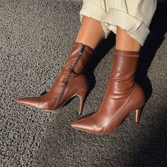 LIPHOP - Pointy-Toe Stiletto-Heel Sock Boots
