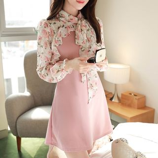 MyFiona - Tie-Neck Frilled Floral-Panel Dress