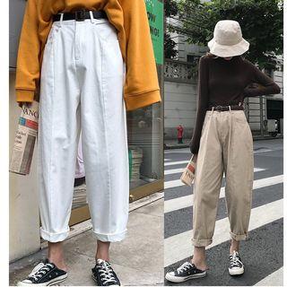 Whoosh - 纯色宽腿牛仔裤