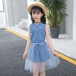 Pegasus - 兒童套裝: 無袖牛仔襯衫 + 網紗裙