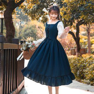 Nebbia - Long-Sleeve Lace-Up Plaid Midi A-Line Dress