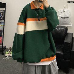 Soulcity(ソウルシティ) - Polo Collar Color-Block Oversize Pullover