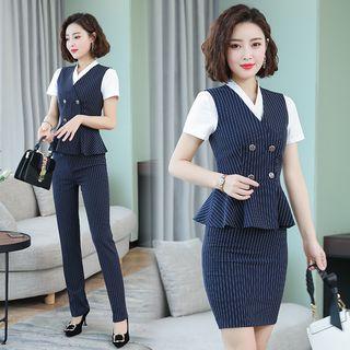Victoire(ヴィクトワール) - Short-Sleeve Striped Blazer / Dress Pants / Mini Fitted Skirt / Vest / Set