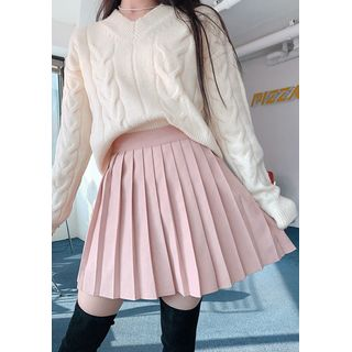 chuu - Pastel Pleat A-Line Miniskirt