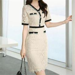 CHICLINE - Contrast-Trim Laced Sheath Dress