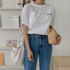 MERONGSHOP - Letter-Printed Cotton T-Shirt