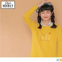 OrangeBear - 火柴圖案設計韓風落肩長袖上衣