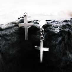 Sterlingworth - Sterling Silver Single Cross Drop Earring