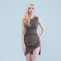 clubber - Asymmetric-Hem Shirred Mini Bodycon Dress