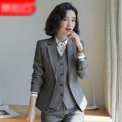 Skyheart - 单扣西装外套 / 西裤 / 铅笔裙 / V领马甲 / 条纹衬衫 / 套装