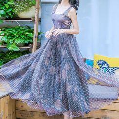 Kokuko - Floral Printed Dotted Mesh Panel Midi Tank Dress
