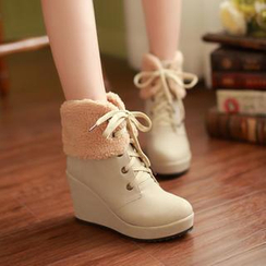 Colorful Shoes - Cuffed Lace-Up Wedged Boots