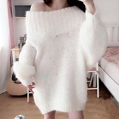 Ashlee - Furry Knit Off-Shoulder Sweater Dress