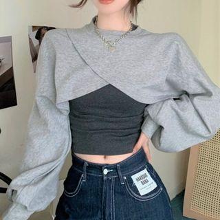 Rerise - 不规则短款卫衣 / 背心上衣
