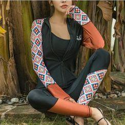 Summer Siren - 套装: 字母防晒衣 + 泳衣上衣 + 下装 + 裤子