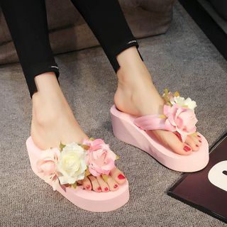 Mayaloka - Floral Platform Wedge Flip-Flops