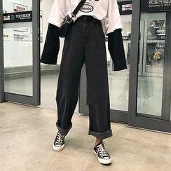 Porstina - 高腰純色寬腿牛仔褲