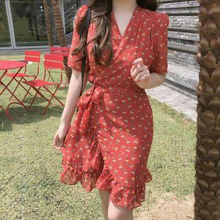 Aumoti - Floral Short-Sleeve A-Line Dress
