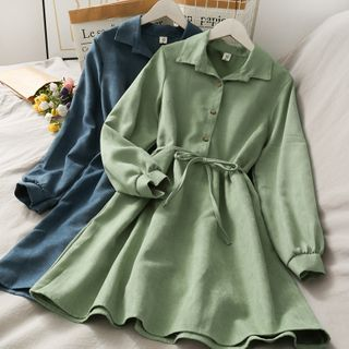 Lemongrass - Corduroy Polo Midi Dress with Sash in 9 Colors