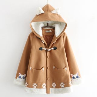 Cat Planet - Hooded Button-Up Coat