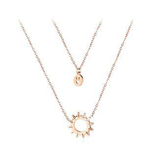 BELEC - 简约镀玫瑰金笑脸和太阳316L 钢双层项链