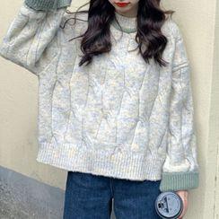 Moon City - Contrast Trim Oversize Sweater