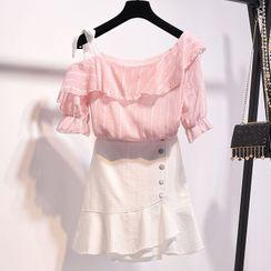 Rosehedge - 套装: 镂空肩短袖上衣 + A字裙