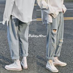 EOW - Cropped Distressed Straight-Fit Jeans