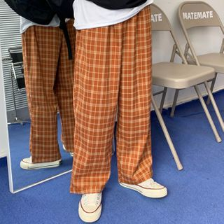 RONIN - Couple Matching Plaid Straight-Fit Pants