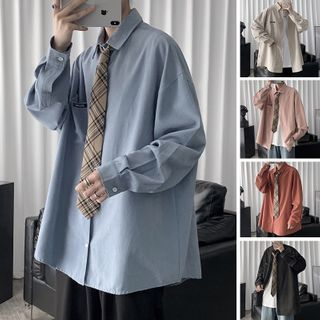 CooLook - Plain Long-Sleeve Shirt with Necktie