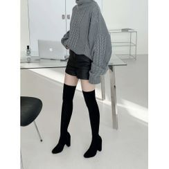 PPGIRL - Chunky-Heel Faux-Suede Long Boots