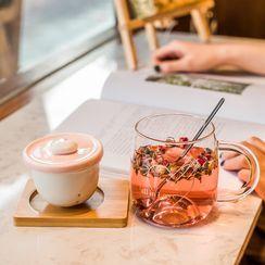 CHITO - Set: Glass Mug + Tea Infuser Lid + Coaster + Spoon