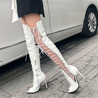 JY Shoes - Peep Toe Lace-up High Heel Over-the-Knee Boots