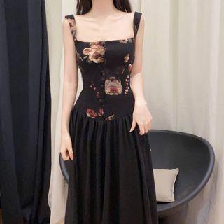 Catamin - Floral Strappy Midi A-line Dress