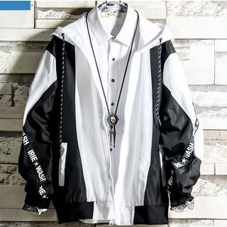 Soinku - Color Block Hooded Zip Jacket