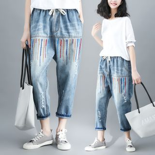 RAIN DEER - Washed Cropped Harem Jeans