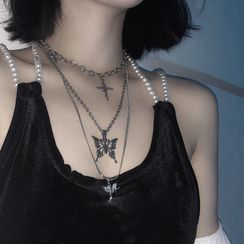 Porstina(ポルスティナ) - Set of 3: Angle Pendant Necklace + Butterfly Pendant Necklace + Cross Pendant Necklace