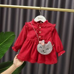 Mini Bae - Kids Ruffled Long-Sleeve A-Line Corduroy Dress