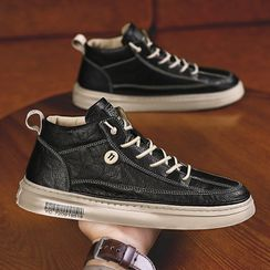 HANO - Plain High-Top Lace-Up Sneakers