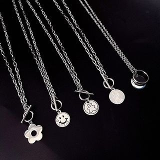 Mimishi - Stainless Steel Cartoon Disc Pendant Necklace