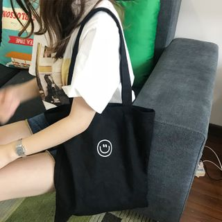 TangTangBags - Smiley Face Print Canvas Tote Bag