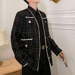 ANCHO - Braid Trim Tweed Jacket