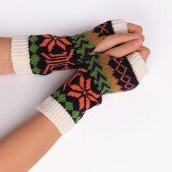Damasco - Print Knit Fingerless Gloves