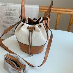 NIPONJJUYA - Genuine Leather Trim Bucket Bag